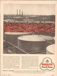 Bakelite Company 1955 Vintage Ad Half Inch Layer Saves 750 Barrels Oil