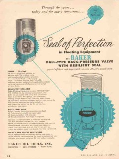 Baker Oil Tools Inc 1955 Vintage Ad Ball Type Back Pressure Valve Seal