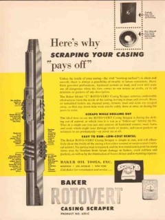 Baker Oil Tools Inc 1955 Vintage Ad Drilling Scraping Casing Pays Off