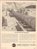 Allied Chemical Dye 1955 Vintage Ad Barrett Protective Coating Pull