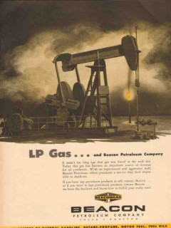 Beacon Petroleum Company 1955 Vintage Ad Beacongas LP Gas Flared Well