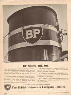 British Petroleum Company 1955 Vintage Ad Oil Tanker Fleet BP Ships