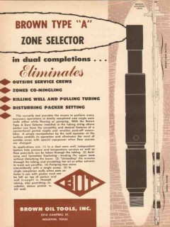 Brown Oil Tools Inc 1955 Vintage Ad Zone Selector Dual Completions