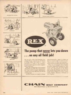 Chain Belt Company 1955 Vintage Ad Oil Field Job Rex Pumps Never Down
