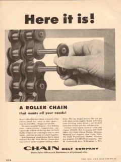 Chain Belt Company 1955 Vintage Ad Rex Oil Field Roller Here