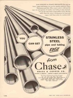 Chase Brass Copper Company 1955 Vintage Ad Oil Pipe Stainless Steel