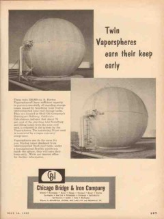 Chicago Bridge Iron Company 1955 Vintage Ad Shell Oil Twin Vaporsphere