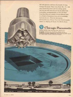 Chicago Pneumatic Tool Company 1955 Vintage Ad Three Cone Rock Bits -2