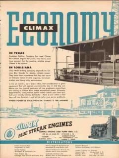 Climax Engine Pump Mfg Company 1955 Vintage Ad Oil Economy TX LA