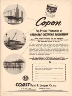 Coast Paint Lacquer Company 1955 Vintage Ad Copon Equipment Protection