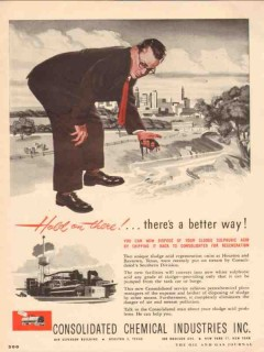 Consolidated Chemical Industries Inc 1955 Vintage Ad Dispose Sludge