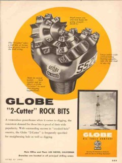 Globe Oil Tools Company 1955 Vintage Ad 2-Cutter Rock Bits Drilling
