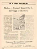 Houston Contracting Company 1955 Vintage Ad Choice Product Privilege