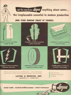 Layne Bowler Inc 1955 Vintage Ad Oil Field Water Essential Production