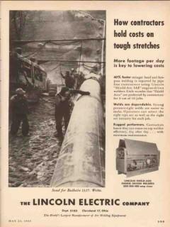 Lincoln Electric Company 1955 Vintage Ad Oil Pipe Welder Contractors