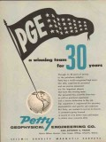 Petty Geophysical Engineering Company 1955 Vintage Ad PGE Winning Team