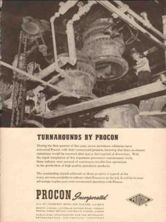 Procon Inc 1955 Vintage Ad Oil Turnarounds High Quality Petroleum