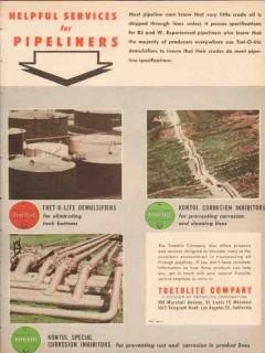 Tretolite Company 1955 Vintage Ad Oil Field Services Pipeliners Kontol