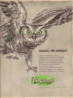 Tuboscope Company 1955 Vintage Ad Oil Pipe Owl Green Eyes See Unseen