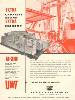 Unit Rig Equipment Company 1955 Vintage Ad Oil Field Extra Capacity