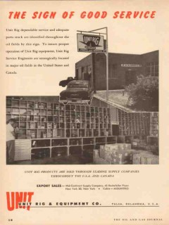 Unit Rig Equipment Company 1955 Vintage Ad Oil Field Sign Good Service