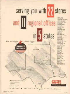 United Supply Mfg Company 1955 Vintage Ad Oil Serving Stores Offices