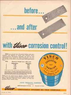 Visco Products Company 1955 Vintage Ad Corrosion Control Before After