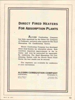 Alcorn Combustion Company 1937 Vintage Ad Oil Direct Fired Heaters