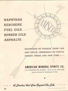 American Mineral Spirits Company 1937 Vintage Ad Tanker Tank Car Truck