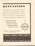 American Mineral Spirits Company 1937 Vintage Ad Reputation Service