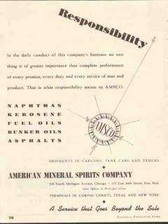 American Mineral Spirits Company 1937 Vintage Ad AMSCO Responsibility