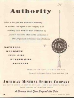 American Mineral Spirits Company 1937 Vintage Ad Authority Established