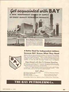 bay petroleum company 1937 finest quality gasoline refinery vintage ad