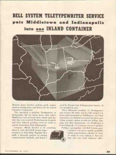 bell system 1937 teletypewriter service inland container co vintage ad