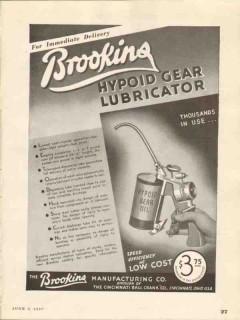 brookins mfg company 1937 hypoid gear lubricator vintage ad