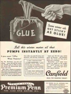 Canfield Oil Company 1937 Vintage Ad Sell Winter Pumps Instantly Glue