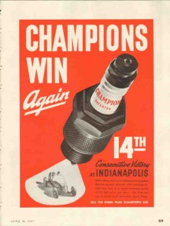 champion spark plugs 1937 consecutive victory indianapolis vintage ad