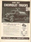 chevrolet 1937 greatest pulling power low-price field truck vintage ad