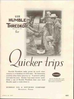 Humble Oil Refining Company 1937 Vintage Ad Thredkote Quicker Trips