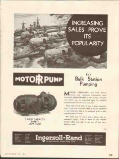 Ingersoll-Rand 1937 Vintage Ad Motorpump Sales Bulk Station Pumping