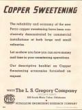 L S Gregory Company 1937 Vintage Ad Oil Perco Copper Sweetening Refine