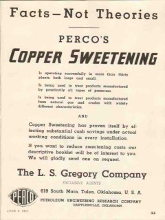 L S Gregory Company 1937 Vintage Ad Oil Perco Copper Sweetening Facts