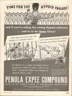 Penola Inc 1937 Vintage Ad Lubricant Oil Expee Compound Hypoid Parade