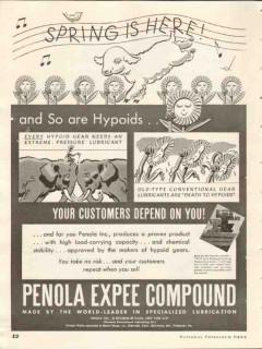 Penola Inc 1937 Vintage Ad Lubricant Hypoid Gear Expee Compound Spring