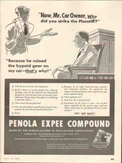 Penola Inc 1937 Vintage Ad Lubricant Hypoid Expee Compound Car Owner