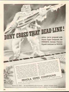 Penola Inc 1937 Vintage Ad Hypoid Lubricant Expee Compound Dead-Line