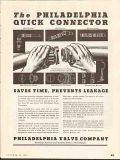 Philadelphia Valve Company 1937 Vintage Ad Oil Fitting Quick Connector