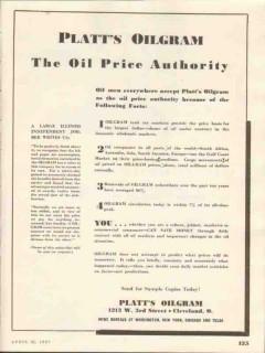 Platts Oilgram 1937 Vintage Ad Oil Price Authority Subscribers Media