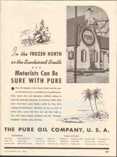 pure oil company 1937 frozen north sunkissed south gasoline vintage ad