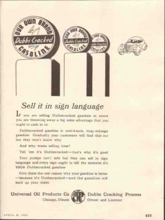 universal oil products company 1937 sign language gasoline vintage ad